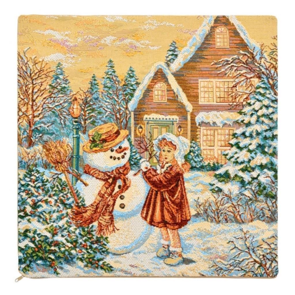 """Наволочка """"Снеговик и девочка"""""""
