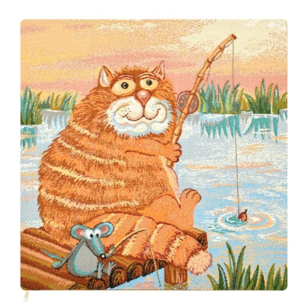 "Наволочка ""Кот на рыбалке"""